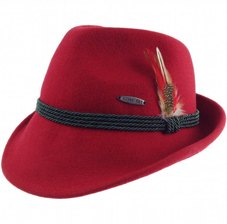 Bavarian Alpine Style 100% Wool Red Hat - Apparel-Costumes, CT-720, German, Hats, Hats-Fedora, Hats-Wool Fedora, L, Medium, Size, Small, Top-GRMN-B