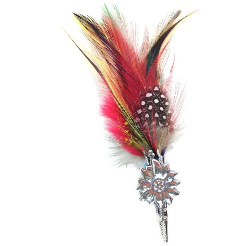 Edelweiss & Colorful Feather German Hat Pin - Apparel-Costumes, CT-540, Edelweiss, German, Germany, Hat Pins, PS-Party Favors, PS-Party Supplies, Top-GRMN-B