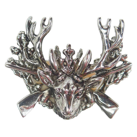 German Hunting Hat Pin with Stag & Rifles