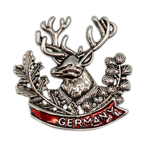 Oktoberfest German Hat Pin Metal Medallion Stag Germany Banner
