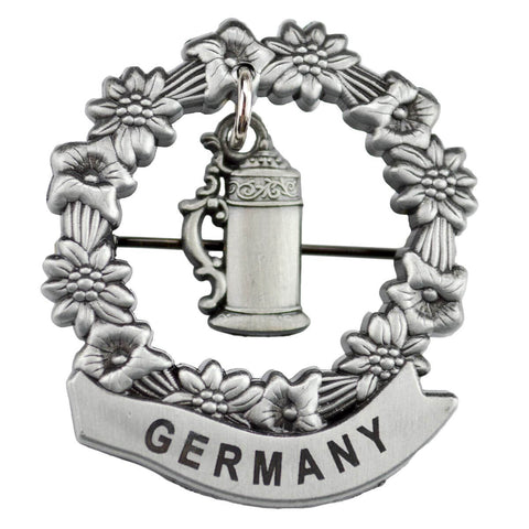 Medallion Beer Stein with Germany Hat Pin for German Hat