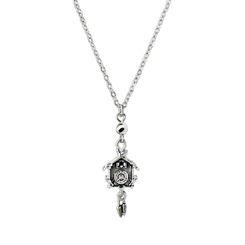 German Cuckoo Clock Pendant Necklace Silver Plated Chain