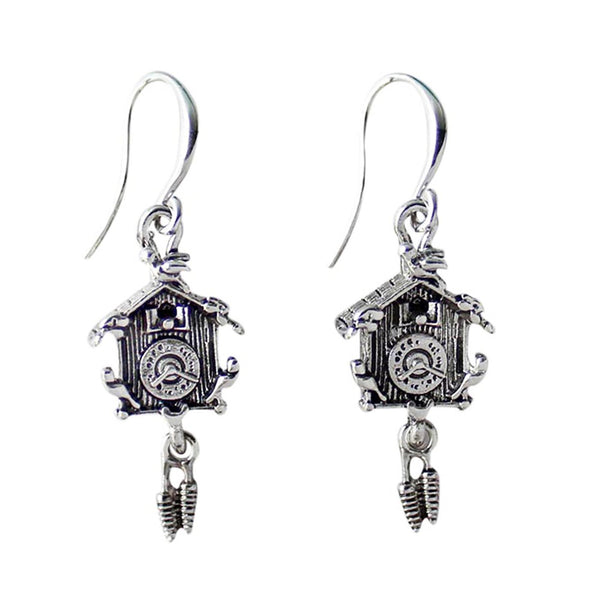 German Cuckoo Clock Pendant Silver Plated Earrings