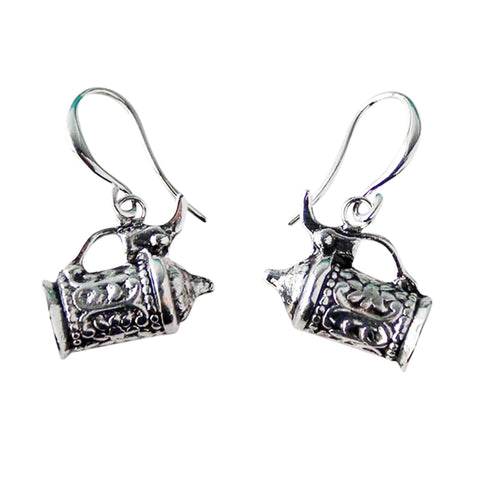 German Beer Stein Pendant Silver Plated Earrings