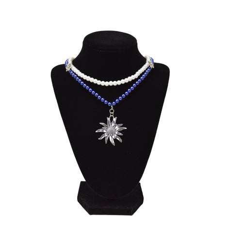 Blue and White Pearl Edelweiss Necklace German Oktoberfest  Jewelry