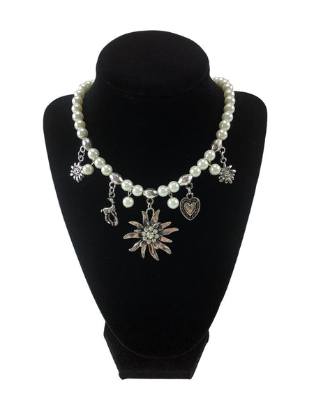 Edelweiss and Pearls Necklace Oktoberfest Jewelry