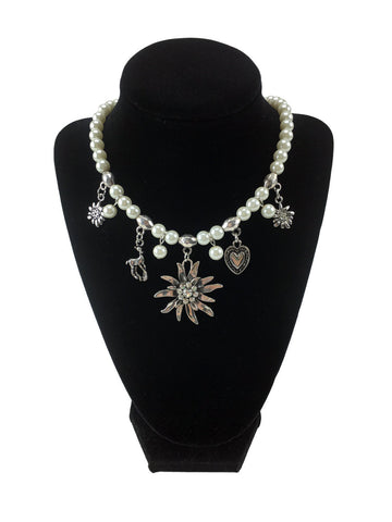 Edelweiss and Pearls Necklace German Oktoberfest Jewelry
