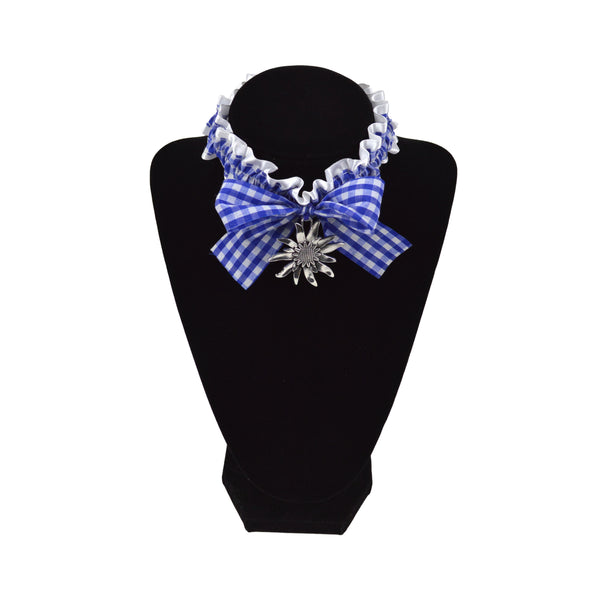 Bavarian Pattern Collar with Edelweiss German Oktoberfest Pendant