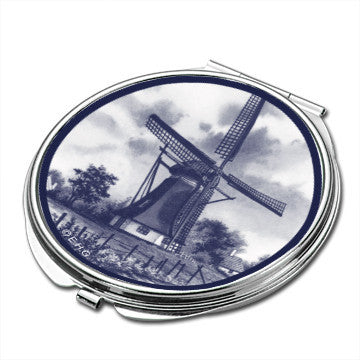 Windmill Scene Metal Compact Mirror