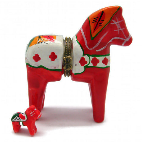 Red Dalarna Horse Jewelry Box