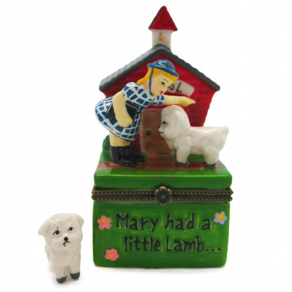 Children's Mary's Little Lamb Jewelry Boxes - Animal, Collectibles, Figurines, General Gift, Hinge Boxes, Hinge Boxes-General, Home & Garden, Jewelry Holders, Nursery Rhyme, Top-GNRL-B, Toys