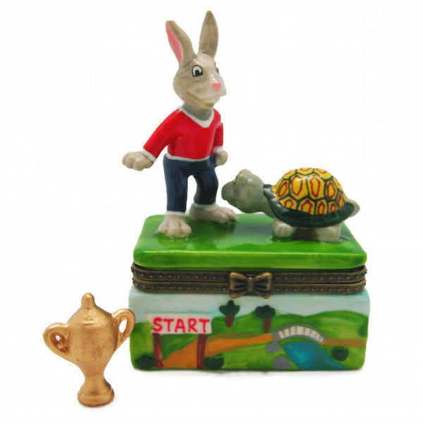Children's Tortoise and Hare Jewelry Boxes - Animal, Collectibles, Figurines, General Gift, Hinge Boxes, Hinge Boxes-General, Home & Garden, Jewelry Holders, Kids, Nursery Rhyme, Toys