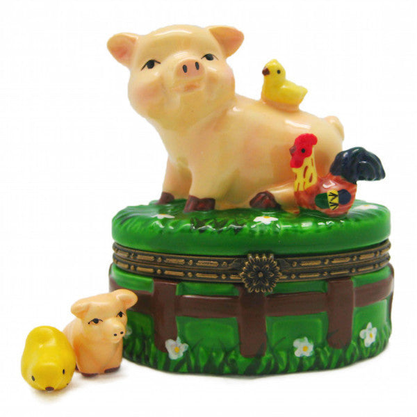 Children'sHappy Pig & Chicks Jewelry Boxes - AN: Pigs, Animal, Collectibles, Figurines, General Gift, Hinge Boxes, Hinge Boxes-General, Home & Garden, Jewelry Holders, Nursery Rhyme, Toys