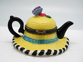 Straw Hat & Tea Pot Treasure Boxes - Coffee & Tea Sets, Collectibles, Figurines, General Gift, Hinge Boxes, Hinge Boxes-General, Home & Garden, Jewelry Holders, Kids, PS-Party Favors, Tea, Tea Pots, Toys - 2 - 3