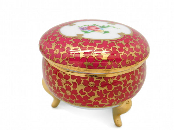 Victorian Antique Round Jewelry Box Antique Red