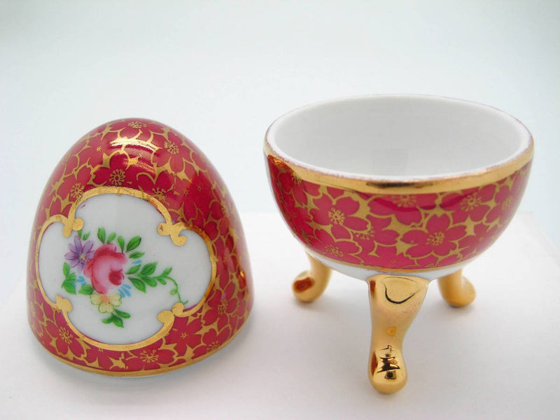 Victorian Antique Egg Jewelry Box Antique Red - Antique Red, Ceramics-Victorian Boxes, Collectibles, Decorations, Deluxe Gold, Desert Rose, General Gift, Home & Garden, Jewelry Holders, Royal Blue, Toys, Victorian - 2 - 3