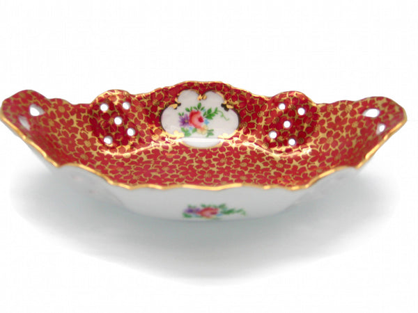 Victorian Antique Dish Jewelry Box Antique Red