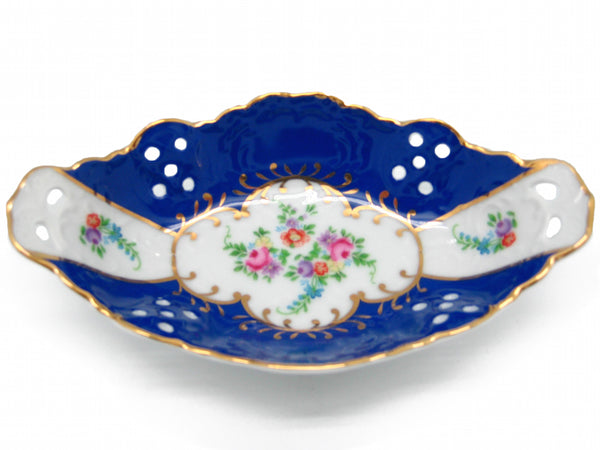 Victorian Antique Dish Jewelry Box Royal Blue