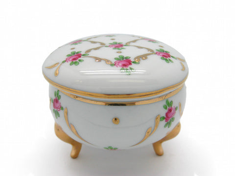 Victorian Antique Round Jewelry Box Desert Rose