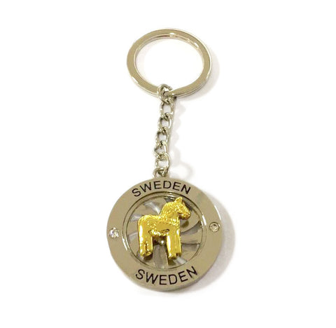 Red Dala Horse Spinner Metal Key Chain