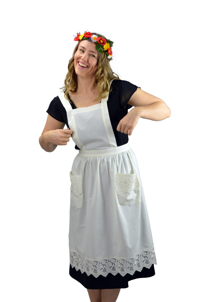 Deluxe Adult Victorian Lace Costume Full Apron Beige - $20 - $30, Apparel- Aprons - Full, Apparel-Costumes, Apparel-Kitchenware, CT-700, Ecru, General Gift, lace, Top-GNRL-A, victorian, White - 2 - 3