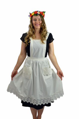 Deluxe Adult Victorian Lace Costume Full Apron Beige