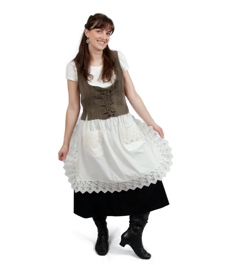 Deluxe Adult Victorian Lace Costume Half Apron Beige - $20 - $30, Apparel- Aprons - Half, Apparel-Costumes, Apparel-Kitchenware, CT-700, Ecru, General Gift, Top-GNRL-B - 2