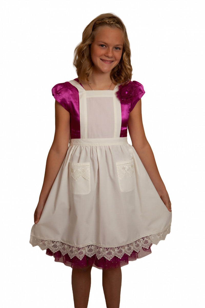 Girls Lace Ecru Full Apron Ages 8-16 - $10 - $20, Apparel- Aprons - Full, Apparel-Costumes, Apparel-Kitchenware, CT-700, Ecru, General Gift, s, Top-GNRL-A, White