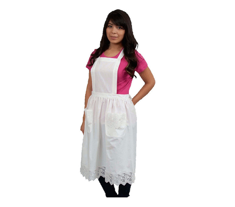 Deluxe Adult Victorian Lace Costume Full Apron White - $20 - $30, Apparel- Aprons - Full, Apparel-Costumes, Apparel-Kitchenware, CT-700, Ecru, General Gift, lace, PS-Party Favors, Top-GNRL-A, victorian, White - 2 - 3 - 4