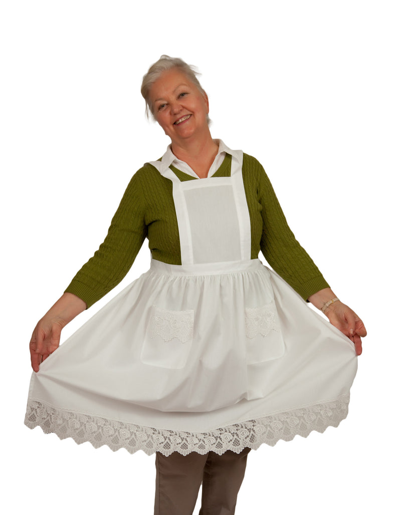 Deluxe Adult Victorian Lace Costume Full Apron White - $20 - $30, Apparel- Aprons - Full, Apparel-Costumes, Apparel-Kitchenware, CT-700, Ecru, General Gift, lace, PS-Party Favors, Top-GNRL-A, victorian, White - 2 - 3 - 4 - 5