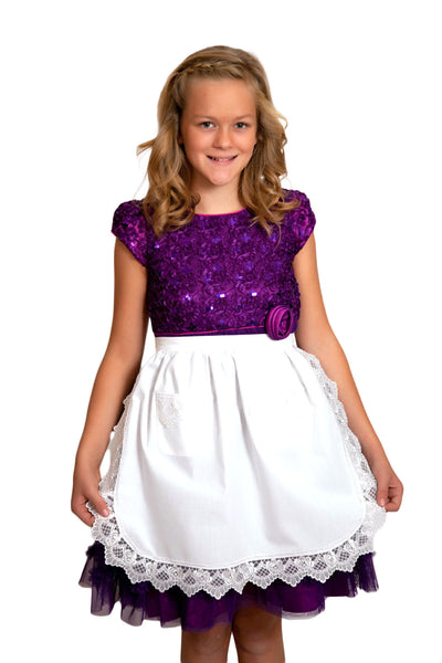 Deluxe Girls Victorian Lace Costume Half Apron White Ages 4-16