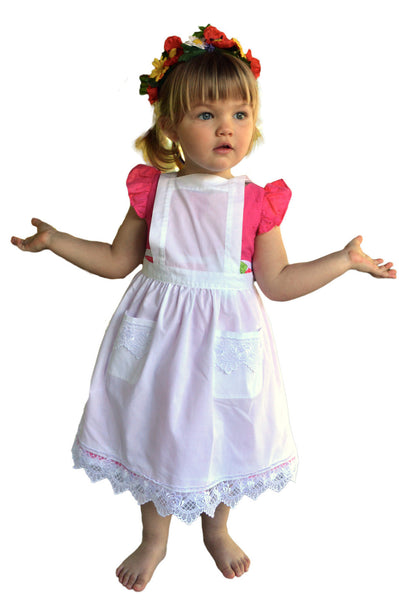 Deluxe Girls Victorian Lace Costume Full Apron White Ages 2-8