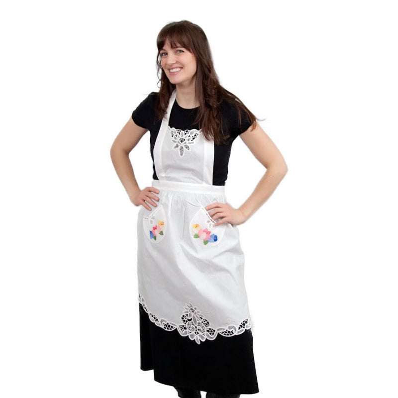 Tulip Apron With Lace Applique - Apparel-Costumes, Collectibles, CT-700, Dutch, General Gift, Home & Garden, Linens, Tulips