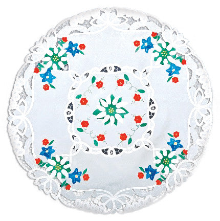 Elegant Round Tablecloth Adorned With Lace Applique