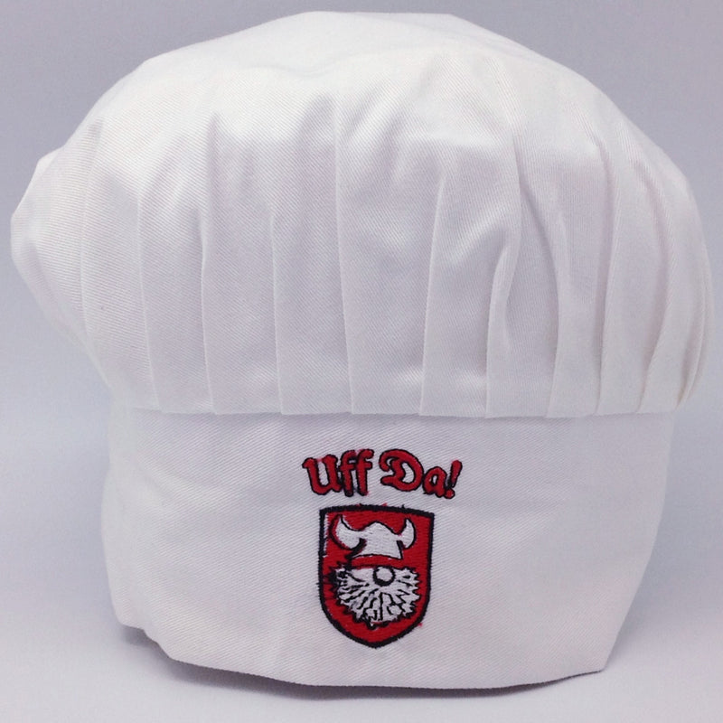 Scandinavian Uff Da White Chef Hat - Apparel-Chef's Hat, Apparel-Costumes, Apparel-Kitchenware, Below $10, Danish, Norwegian, Scandinavian, SY: Uff Da - 2