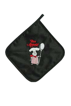 French Bon Appetit! Black Potholder