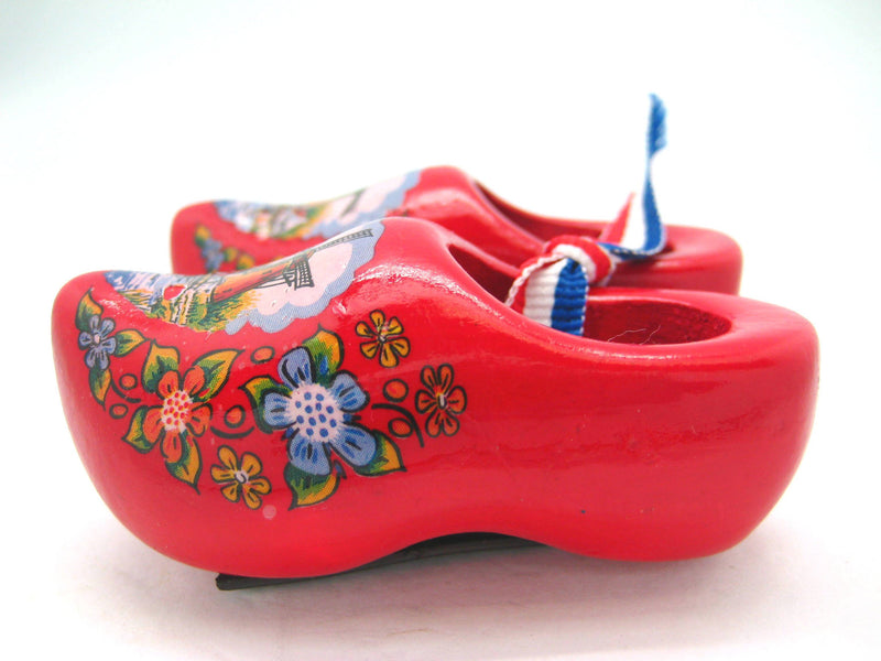 Red Wooden Shoes Magnetic - 1.5 inches, 2.5 inches, Collectibles, CT-600, Decorations, Dutch, Home & Garden, Kitchen Magnets, Magnets-Refrigerator, Netherlands, PS-Party Favors, PS-Party Favors Dutch, Red, Size, Top-DTCH-A, Tulips, wood - 2