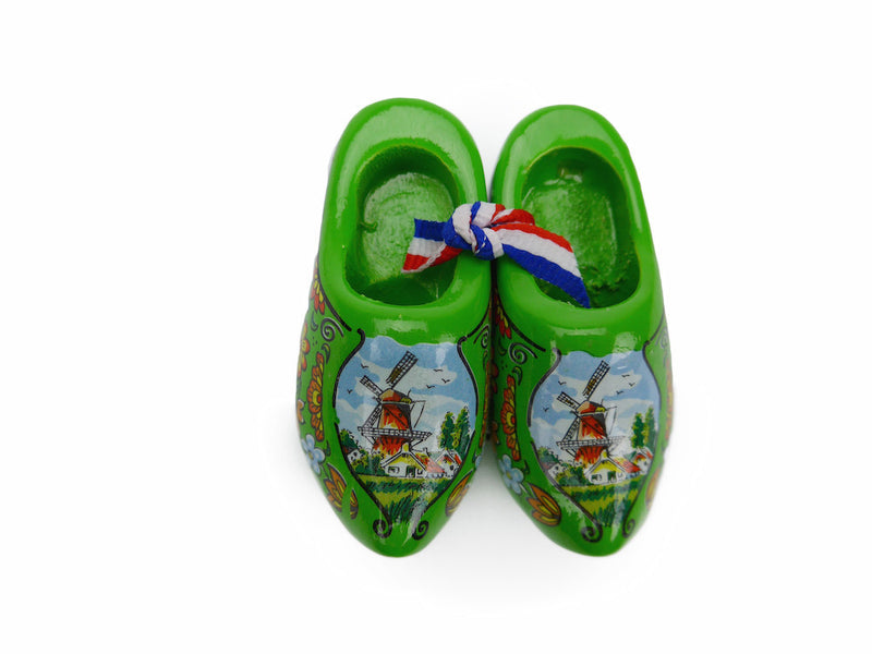 Wooden Shoes Magnetic Green - 1.5 inches, 2.5 inches, Collectibles, CT-600, Decorations, Dutch, Green, Home & Garden, Kitchen Magnets, Magnets-Refrigerator, Netherlands, PS-Party Favors, PS-Party Favors Dutch, Size, Top-DTCH-B, Tulips, wood, Wooden Shoes