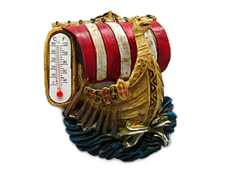 Vikings Ship with Thermometer Magnet - Below $10, Collectibles, Home & Garden, Kitchen Magnets, Magnets-Refrigerator, Norwegian, PS-Party Favors, Thermometer, Viking