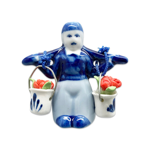 Dutch Magnetic Delft Boy with Tulips