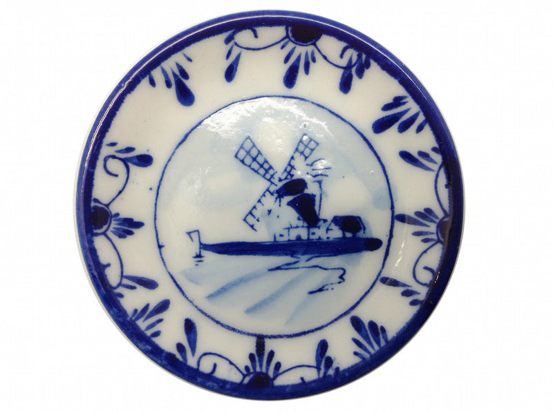 Miniature Delft Blue Windmill Plate Magnet - Collectibles, Color, Decorations, Delft Blue, Dutch, Home & Garden, Kitchen Magnets, Magnets-Delft, Magnets-Dutch, Magnets-Refrigerator, Miniatures, PS-Party Favors, PS-Party Favors Dutch, Windmills