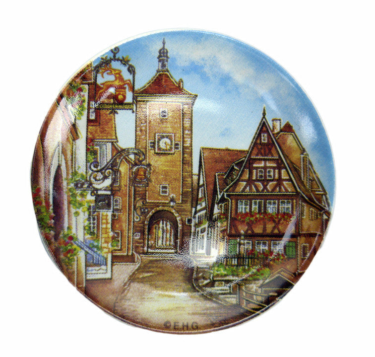 Ceramic Refrigerator Magnet Rothenburg Plate - Collectibles, CT-520, Euro Village, European, German, Germany, Home & Garden, Kitchen Magnets, Magnets-German, Magnets-Refrigerator, PS-Party Favors, Top-GRMN-B