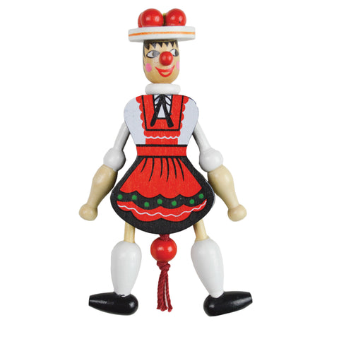 Bavarian Girl Jumping Jack Magnet Toy