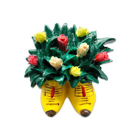 Wooden Shoes with Flowers Kitchen Magnet