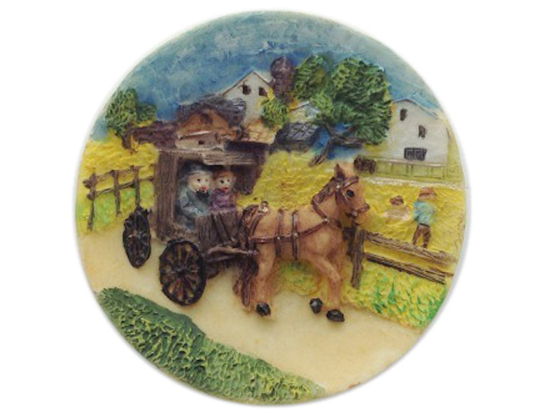 Amish Buggies Unique Plate Magnet - $1 - $60, Collectibles, General Gift, Home & Garden, Kitchen Magnets, Magnets-Refrigerator, Poly Resin, PS-Party Favors