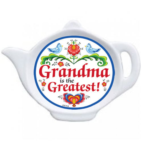 Grandma is the Greatest Teapot Magnet with Birds Design