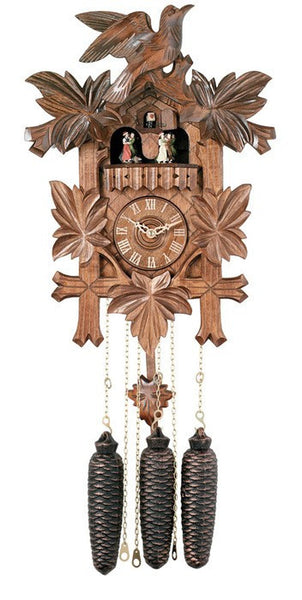 Eight Day Musical Cuckoo Clock with Dancers, Five Hand-carved Birds and Maple Leaves-16 inches Tall
