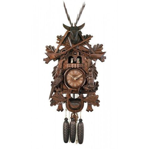 Eight Day Musical Hunter's Cuckoo Clock With Dancers - Hand-Carved Live Animals, Leaves, And Buck