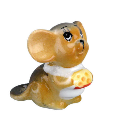 Collectible Porcelain Miniature Mouse with Cheese Color