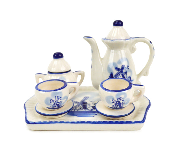 Miniature Ceramic Tea Set with Windmill Design